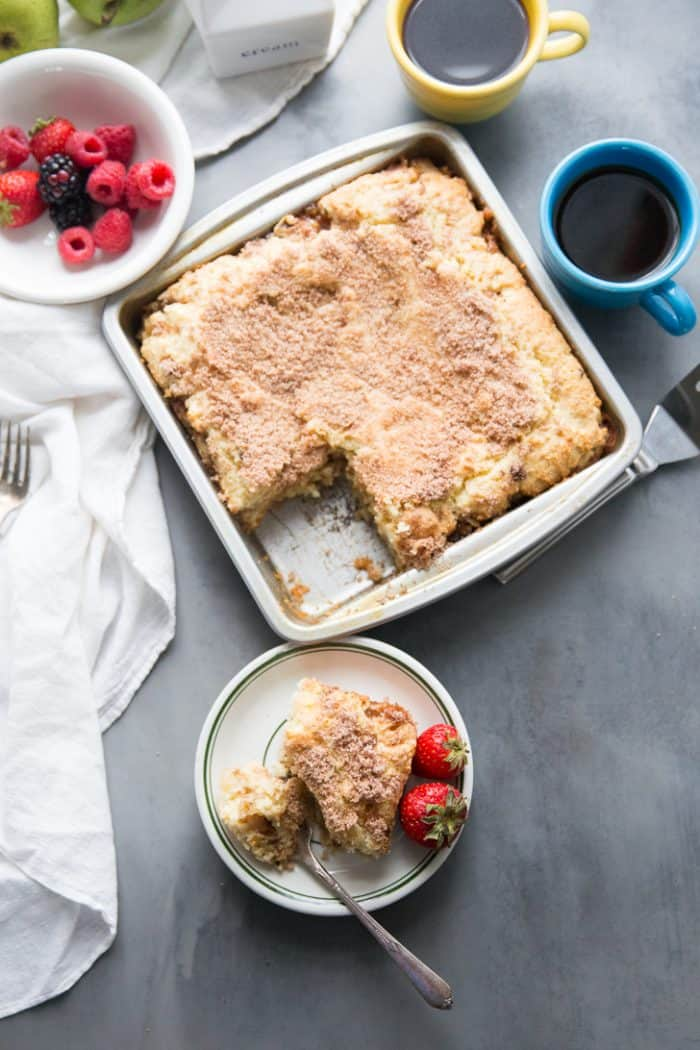 fresh walnut pear coffee cake