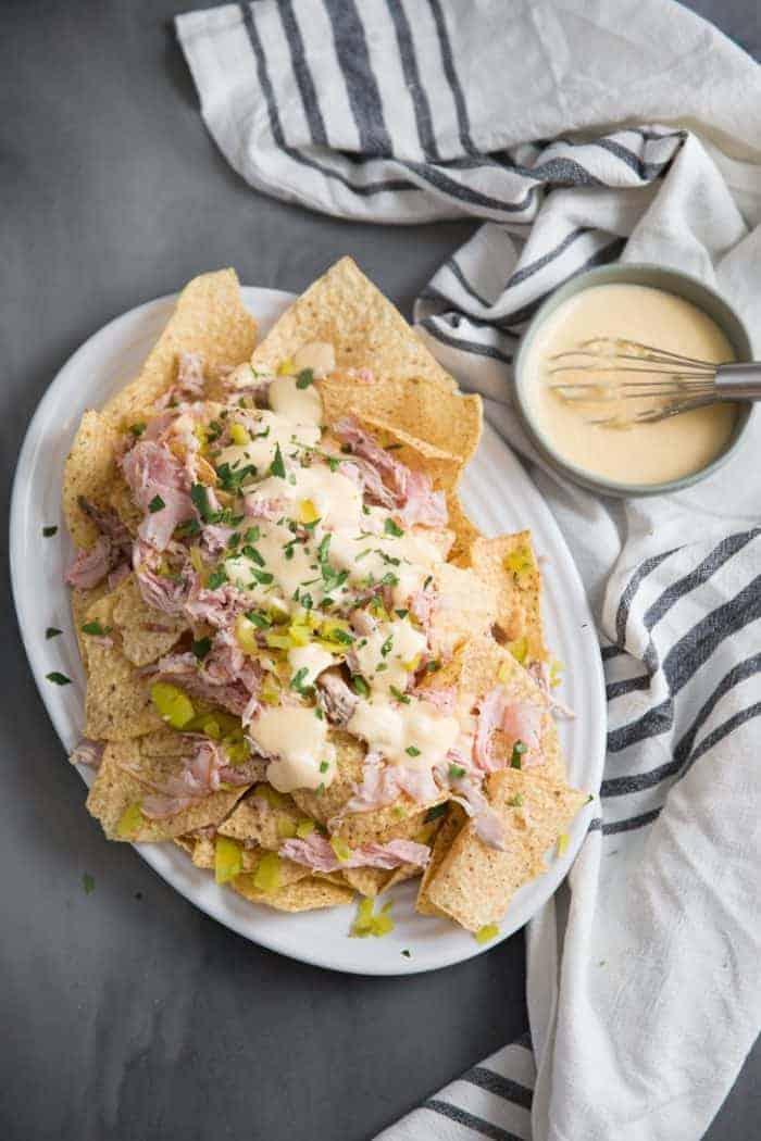 Roast cuban pork loin nachos