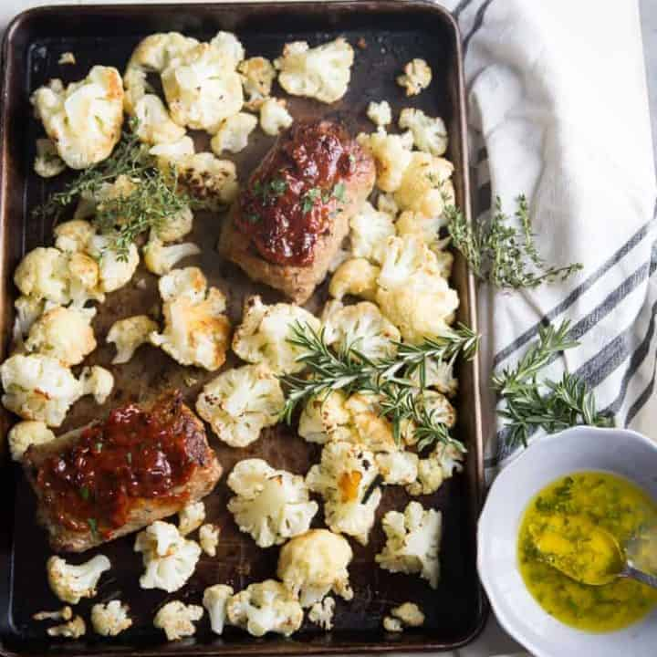 Parmesan Herb Roasted Cauliflower Recipe with Turkey Meatloaf