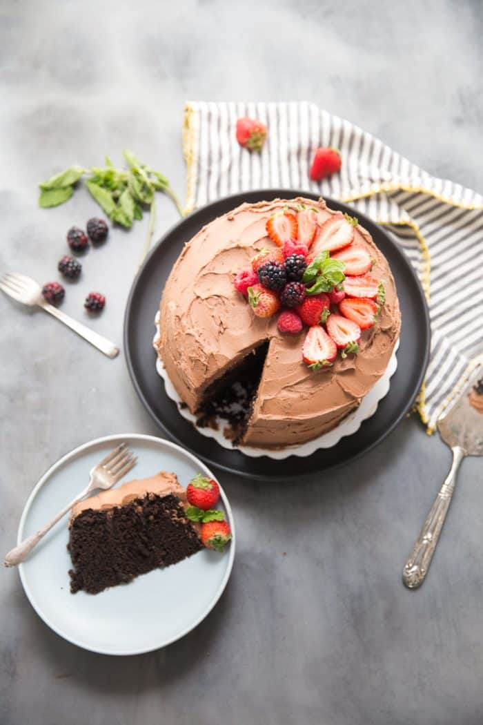 lThis dark chocolate cake is sinful, decadent, swoon-worthy and a little boozy.  In essence, this cake is everything.