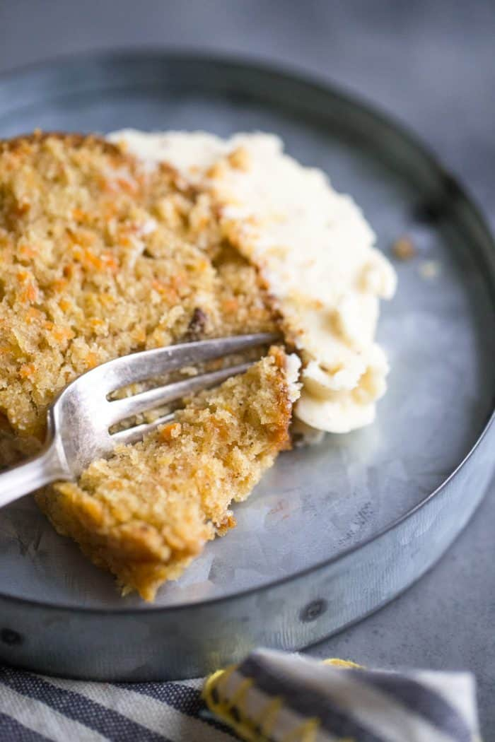 Homemade carrot cake recipe slice with a fork