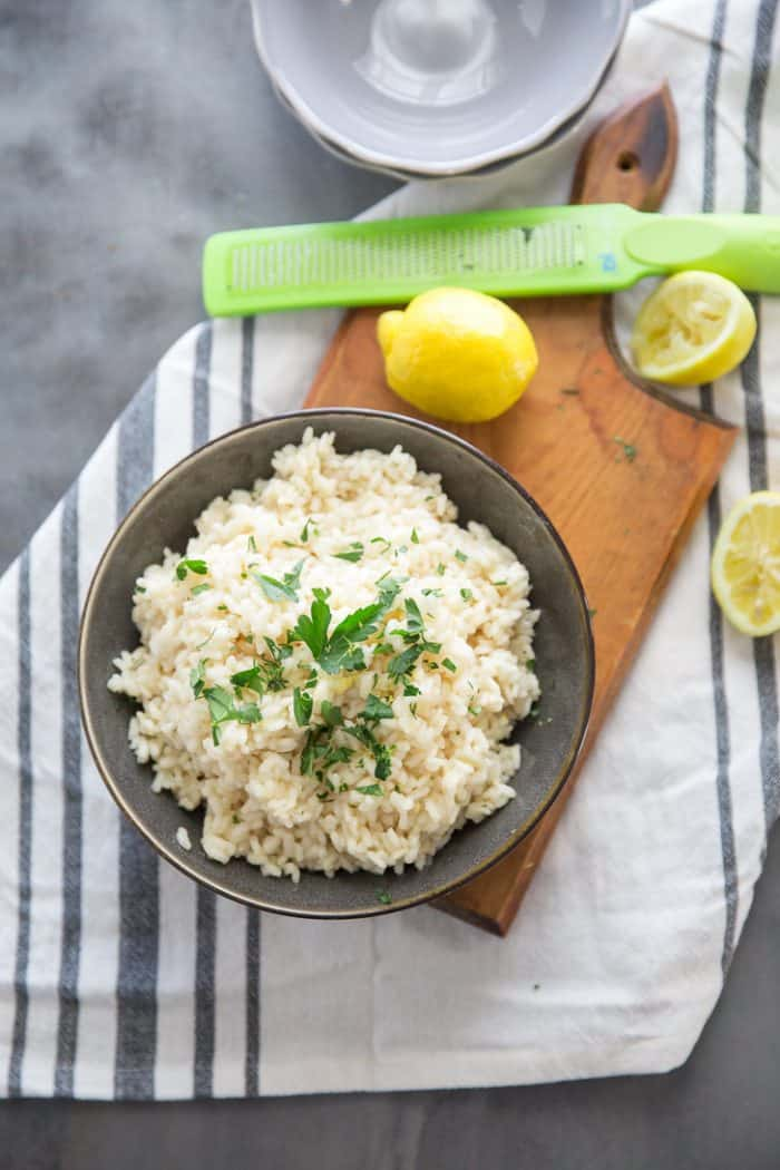 Lemon risotto top down view