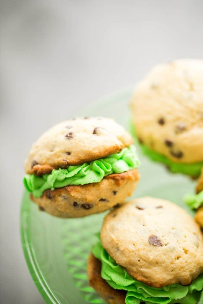 Mint Chocolate Chip Whoopie Pies Single on plate