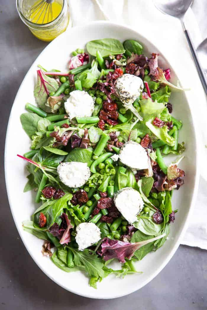 Spring Salad Recipe top down view on plate