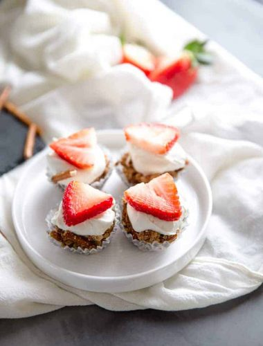 Strawberry Pretzel Bites on white plate