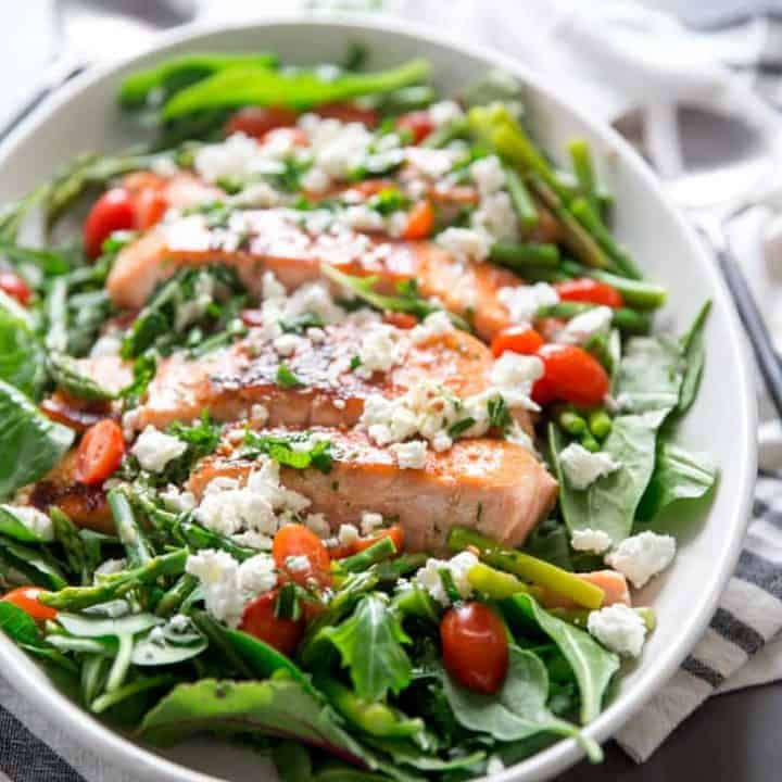 Bourbon Glazed Salmon Salad