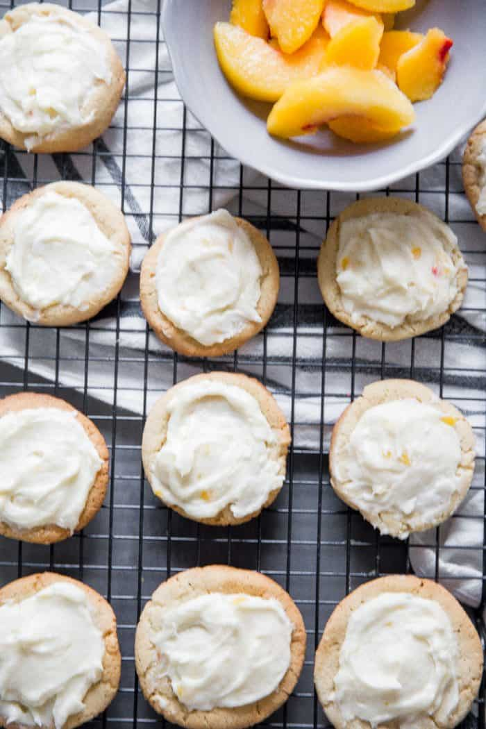 Peach Bellini Cookies on baking rack