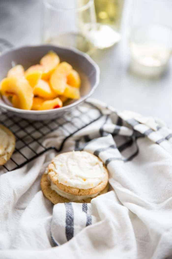 Peach Bellini Sugar Cookies stack of two