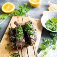 Beef Shish Kabobs with Chimichurri Sauce