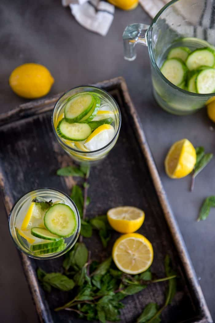 Cucumber lemon detox water top view of glasses