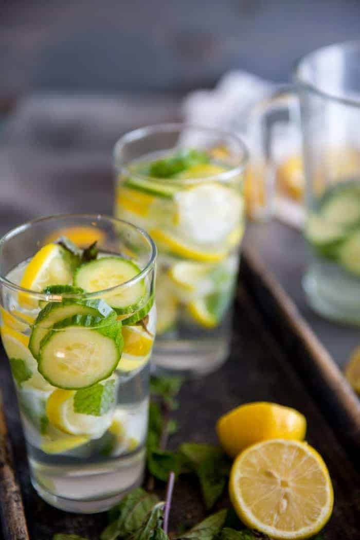Cucumber Lemon detox Water two glasses