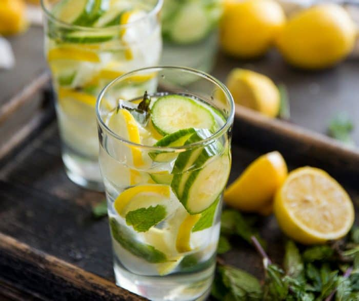 Cucumber Lemon Water two glasses on tray