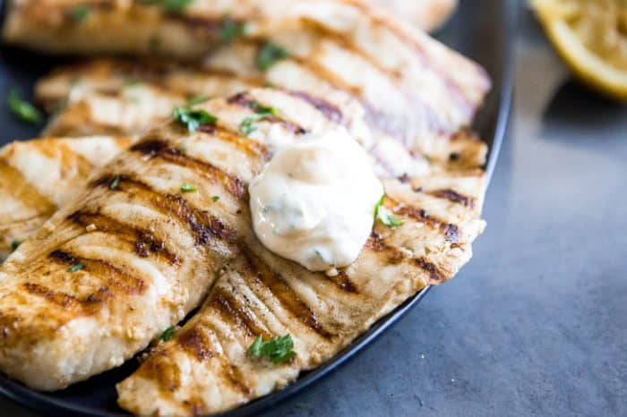Grilled tilapia with dollop of aioli