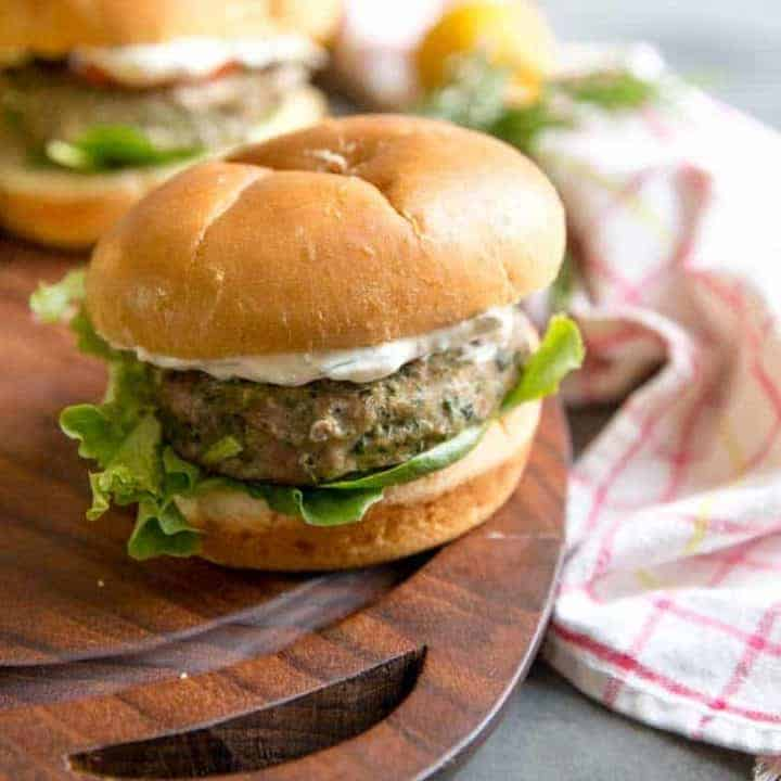 Herb & Lemon Aioli with Spinach and Kale Turkey Burgers