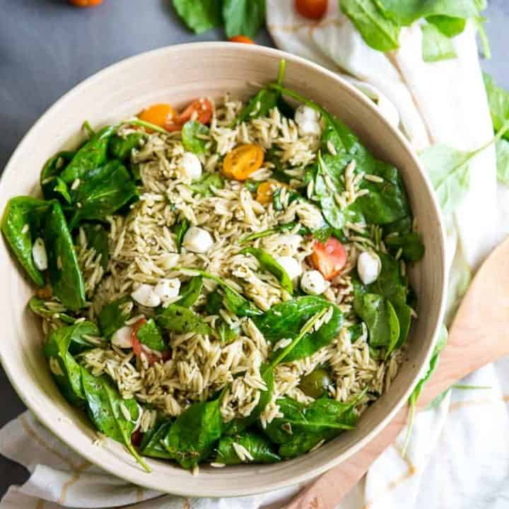 Spinach and Pesto Orzo Salad