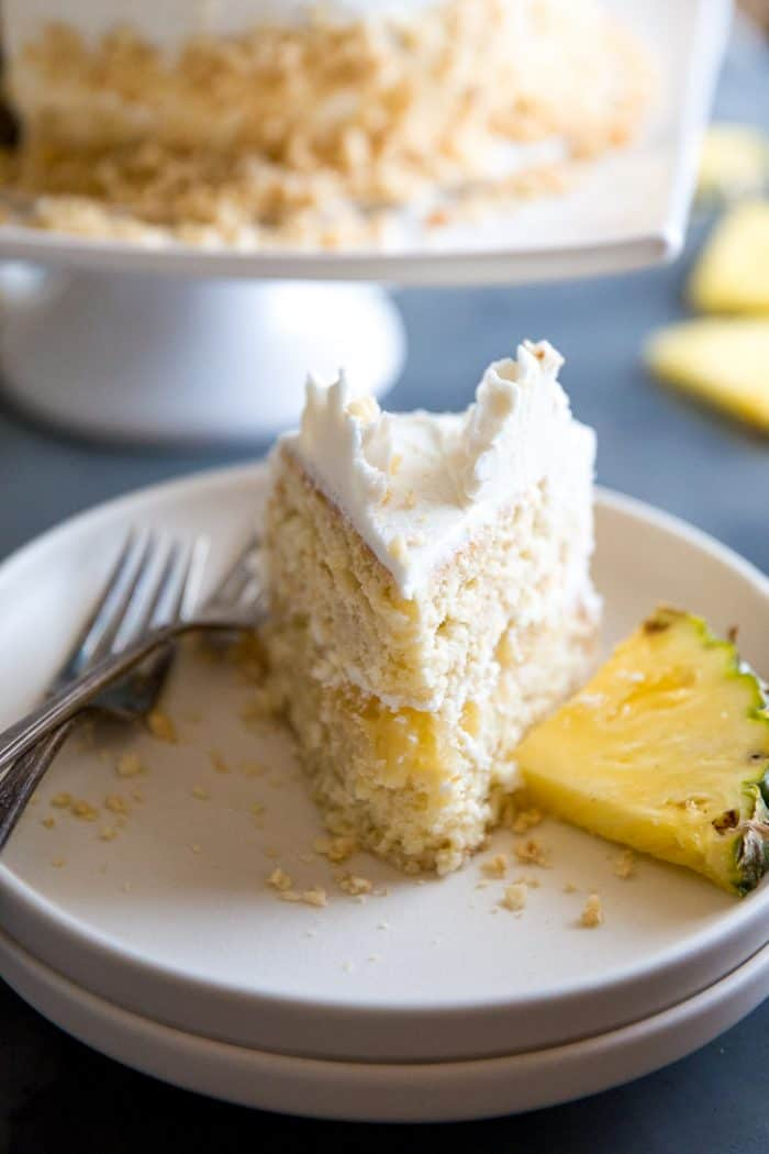 Slice of pineapple cake