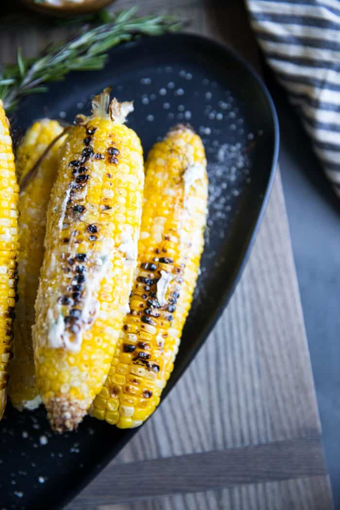 Grilled corn angled view