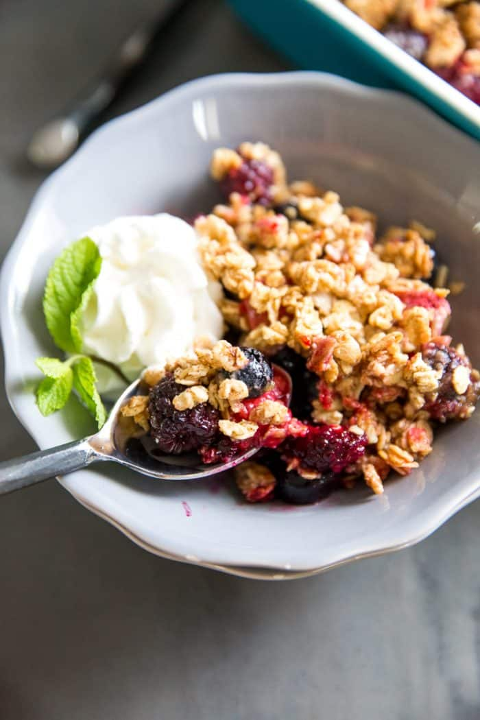 Mixed berry crumble in a bowl