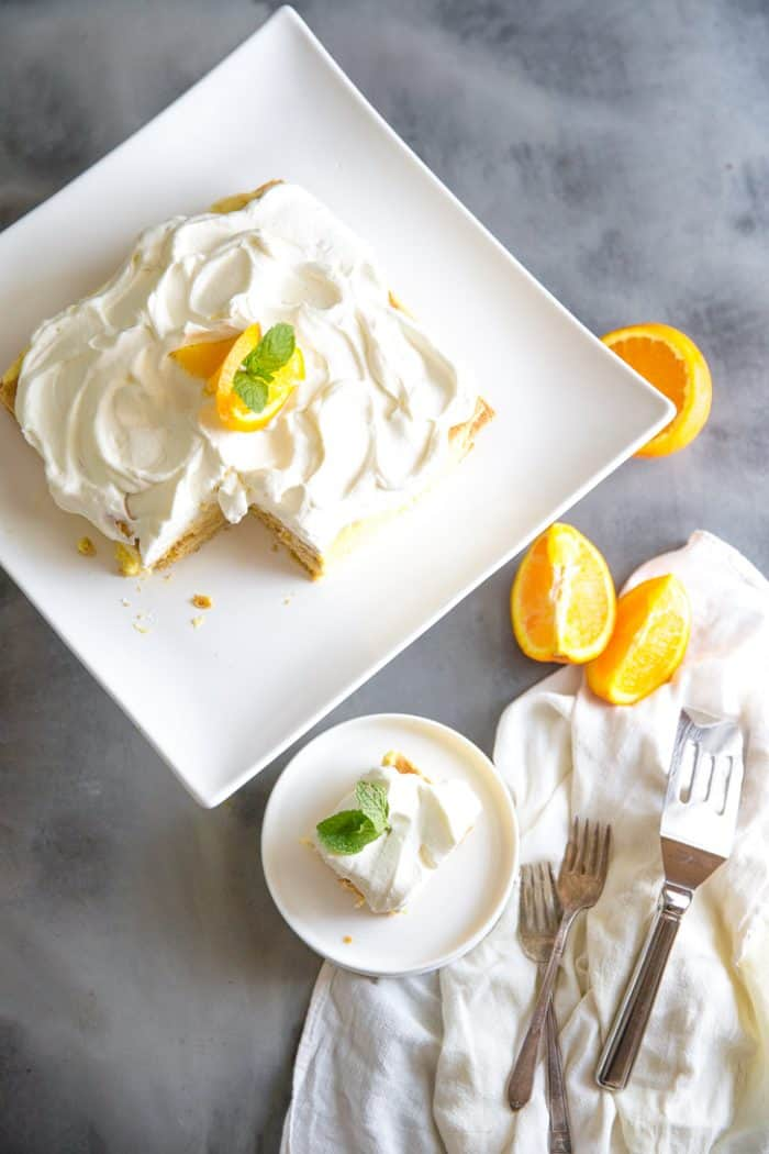 orange creamsicle ice box cake and slice