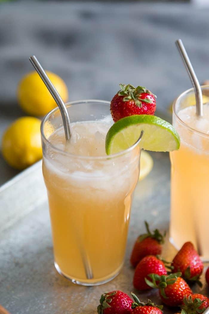 Bourbon cocktail lemonade close up