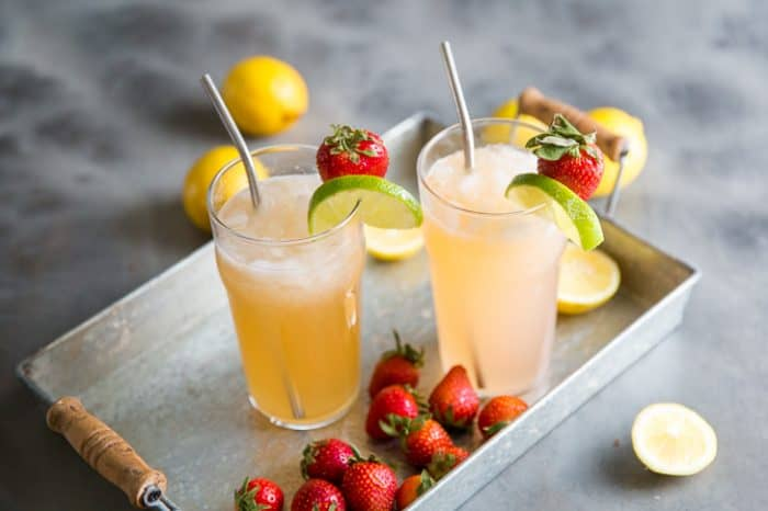 Bourbon lemonade with strawberries and lemonade