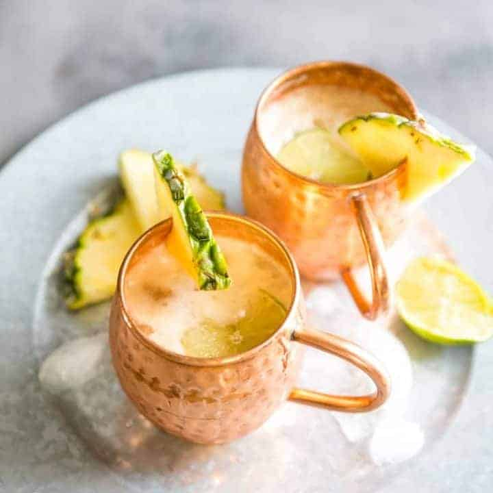 Pina Colada Moscow Mule Drink on a tray
