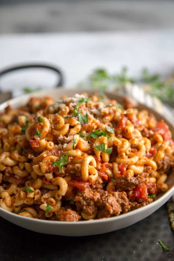 American goulash in a bowl