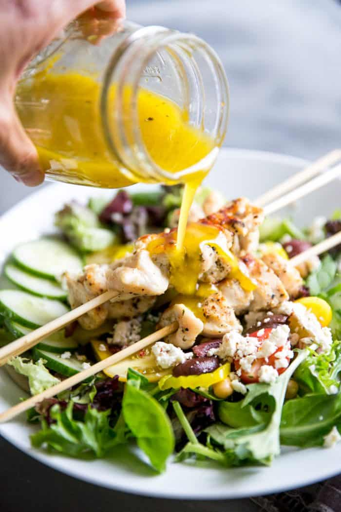 chicken souvlaki salad with dressing
