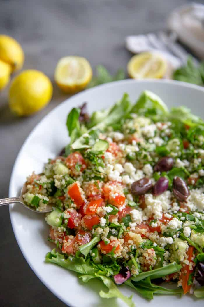 Quinoa tabbouleh with spoon
