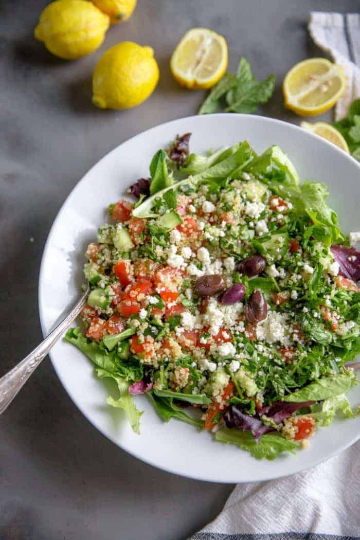 quinoa tabbouleh salad in a bowl