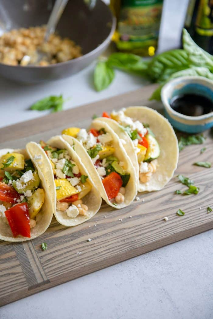 Roasted veggie tacos with garbanzo beans