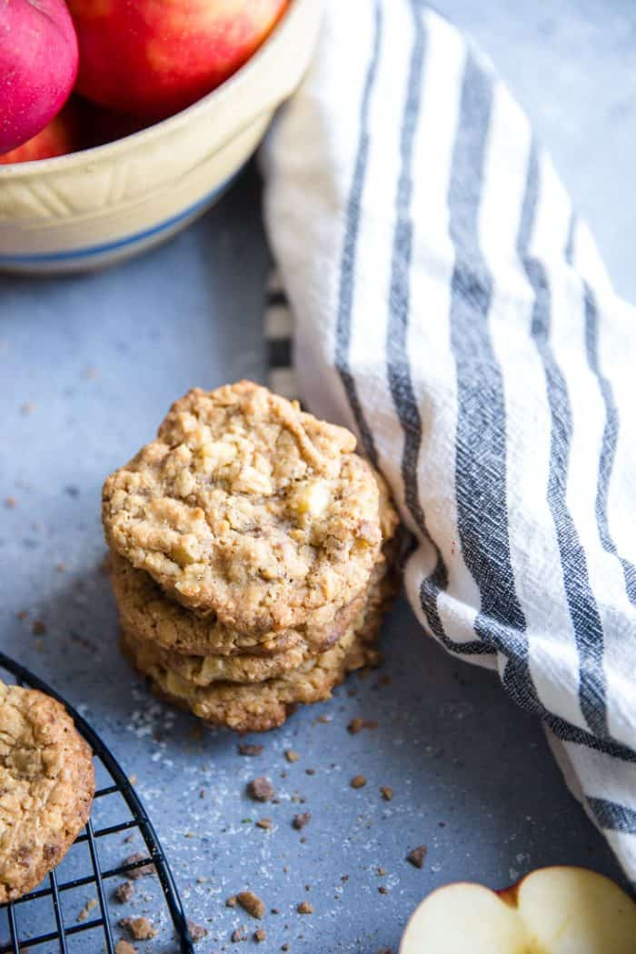 apple oatmeal cookies with a baking towel