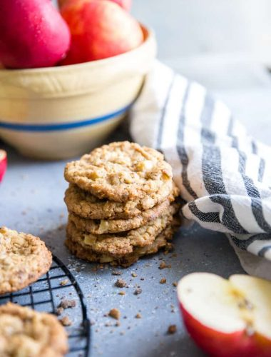 apple oatmeal cookies stacked