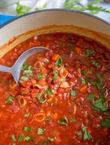 pasta e fagioli soup ladle scooping