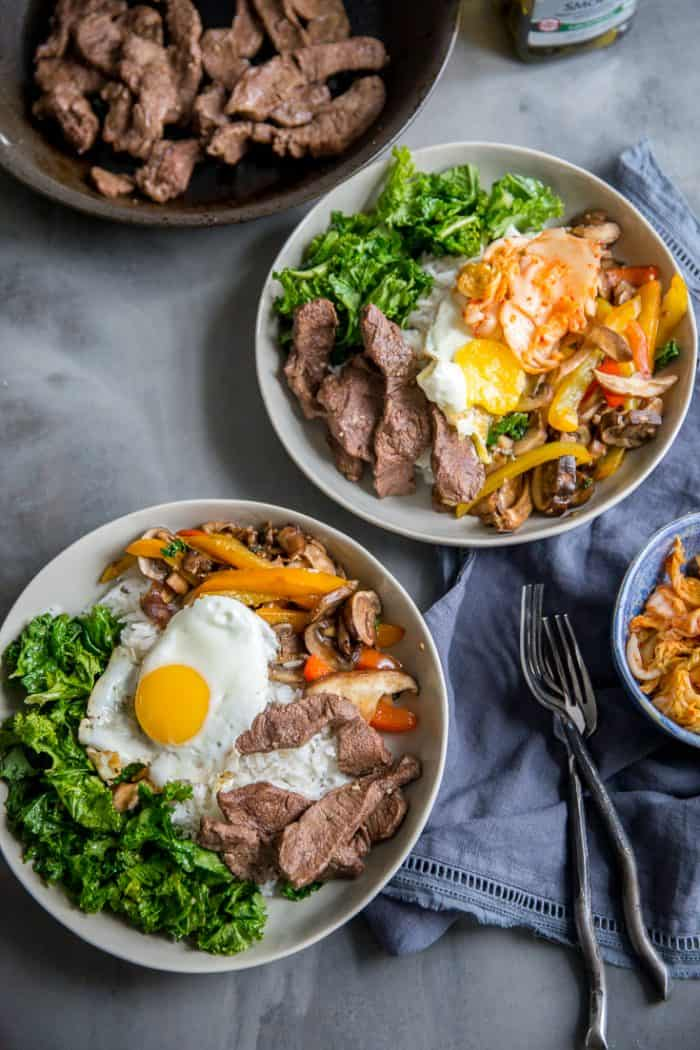 two bibimbap bowls