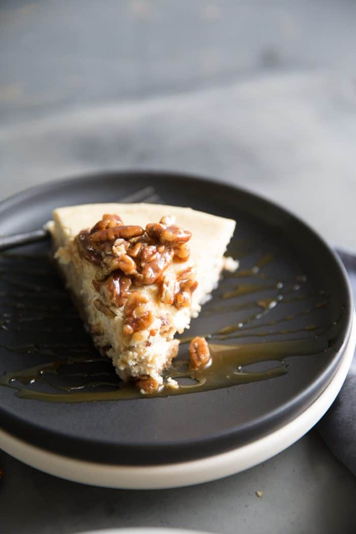 pecan pie cheesecake slice