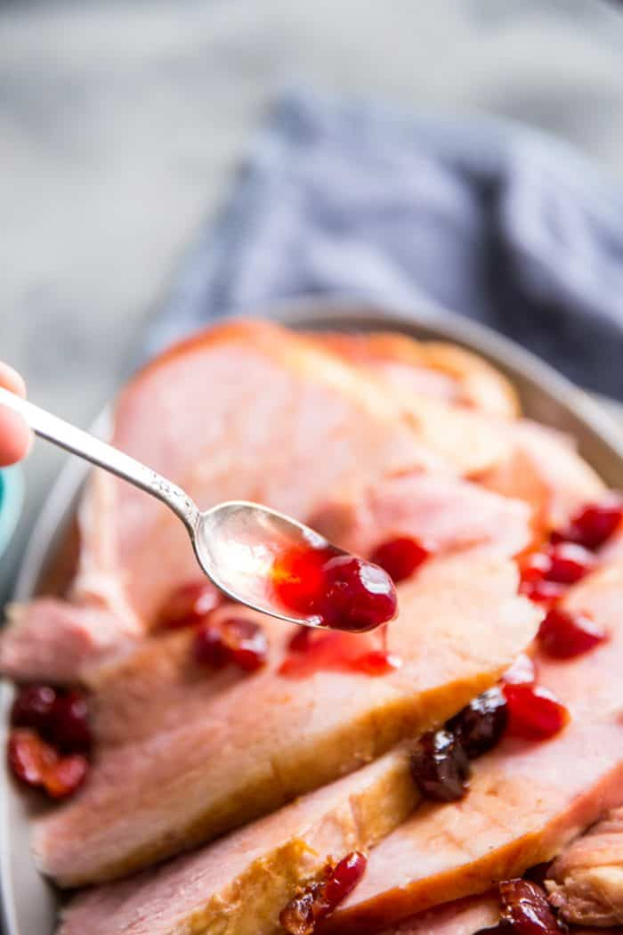 Baked ham with sauce