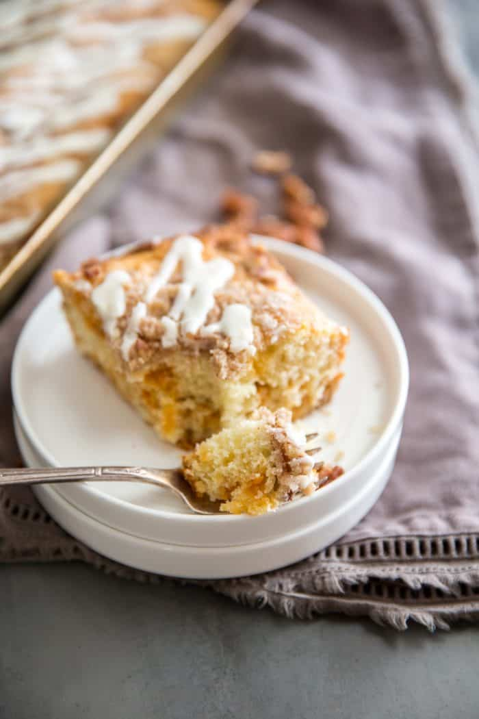 Cinnamon coffee cake plate and fork