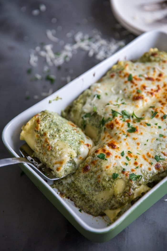Lasagna roll lifted with a spatula