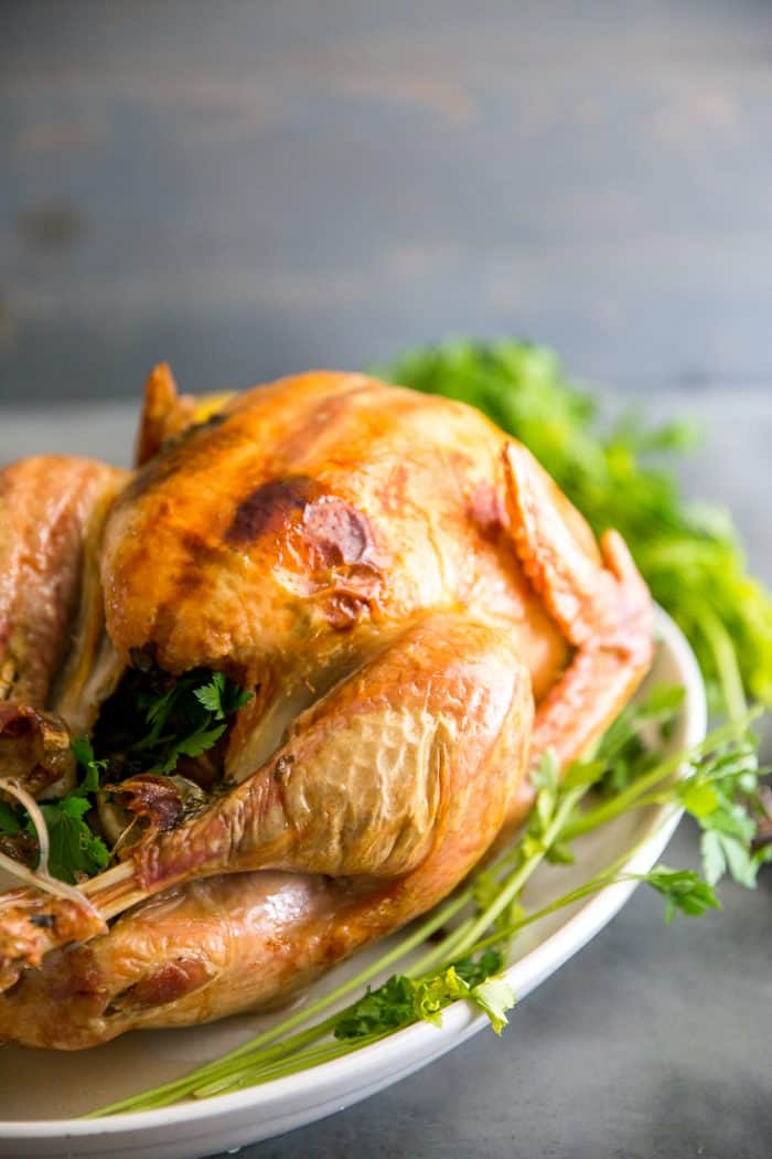 roast turkey recipe on platter