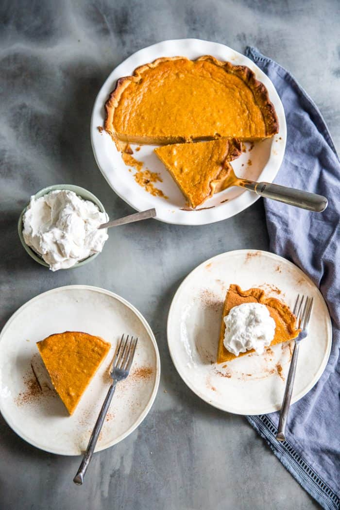Homemade sweet potato pie pie and two plates