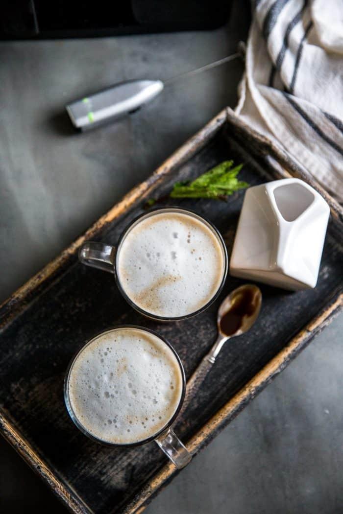 Tray with chocolate coffee