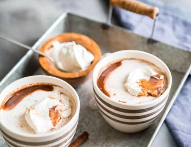 Cinnamon cocoa on a tray