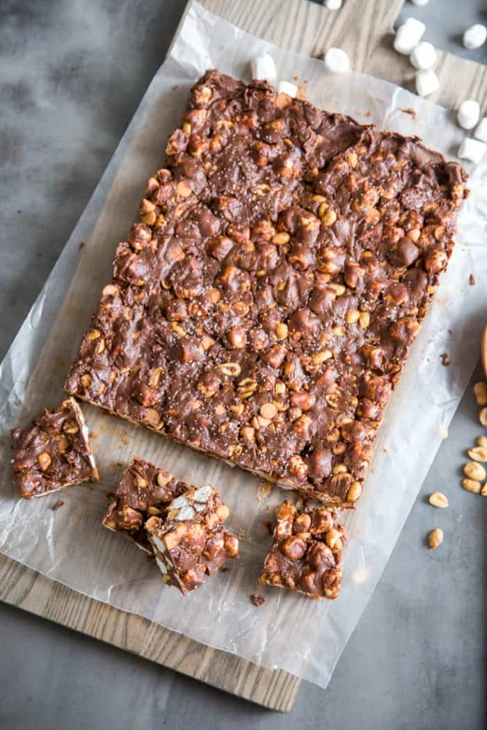 Slab of rocky road candy