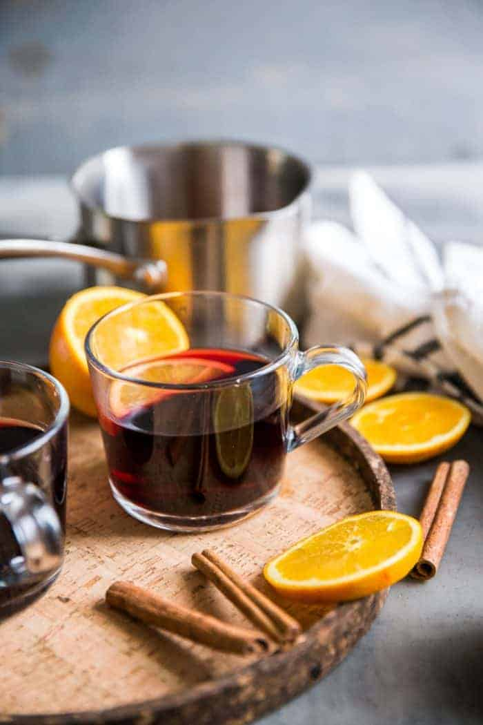 Warm red wine sangria in clear glass