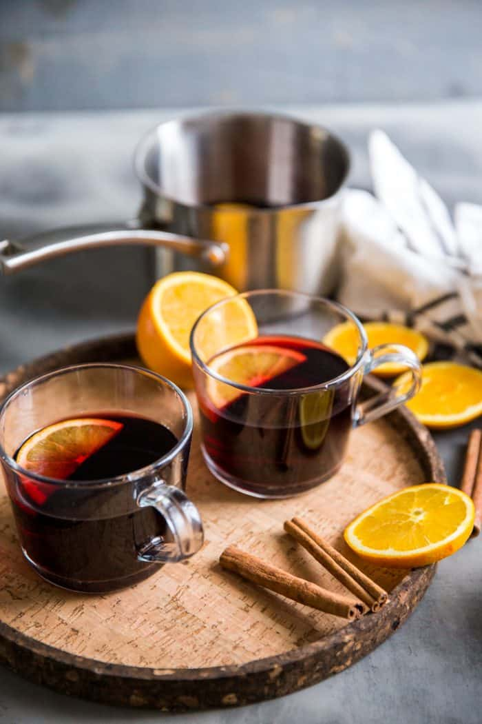 Warm red wine sangria two mugs