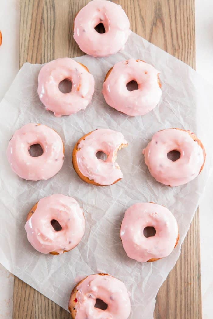 cherry chip cake donuts one with a bite out