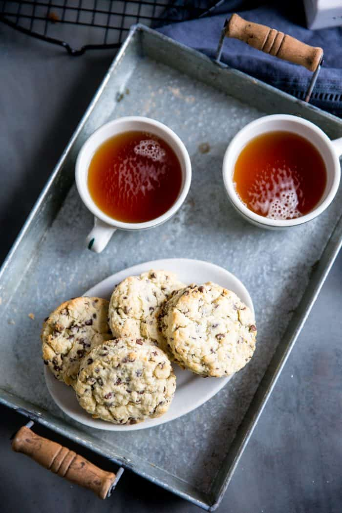 chocolate chip scones with tea