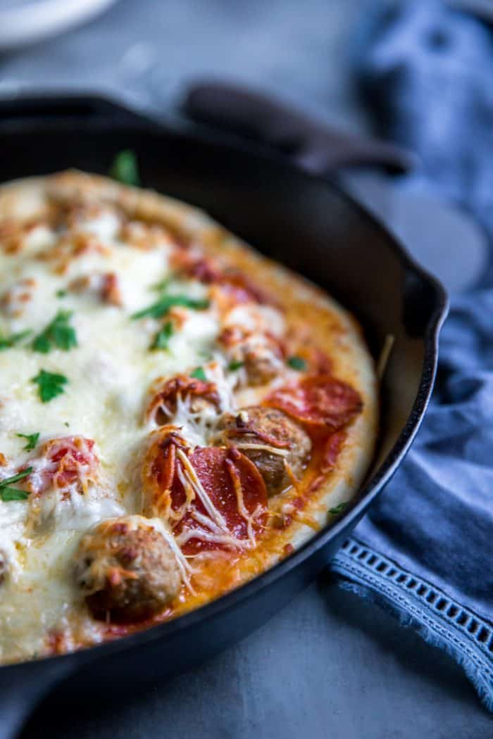 Meatball pizza with pepperoni
