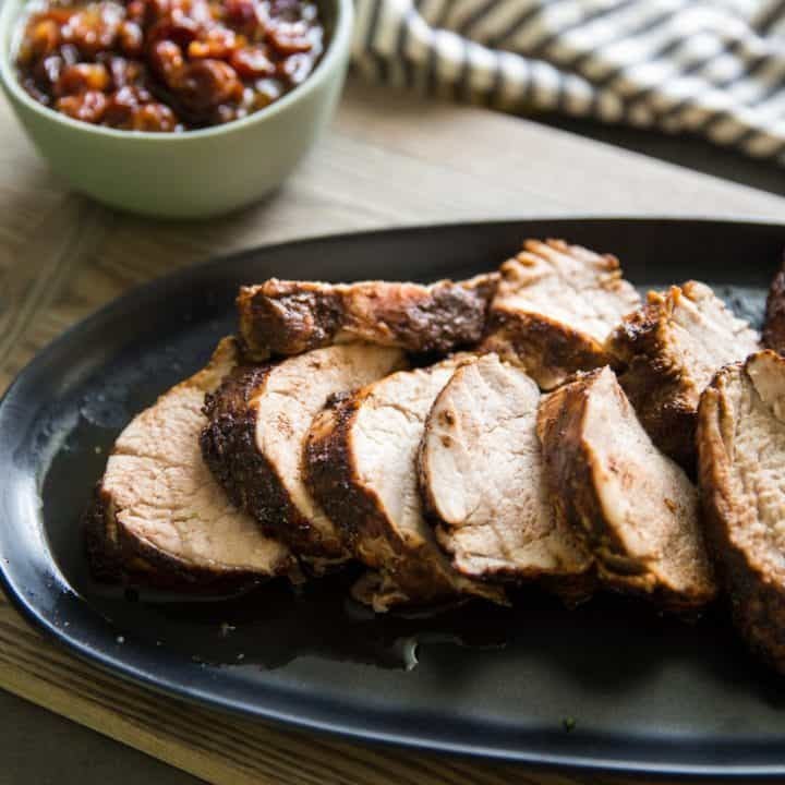 Cocoa and Chili Spiced Pork Tenderloin Roast Recipe (with Cherry Sauce)